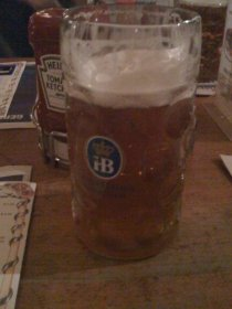mmm...beer. This is the unfiltered lager, their current seasonal (didn't know they did those outside Oktoberfest time), in a 1-liter Maßkrug.