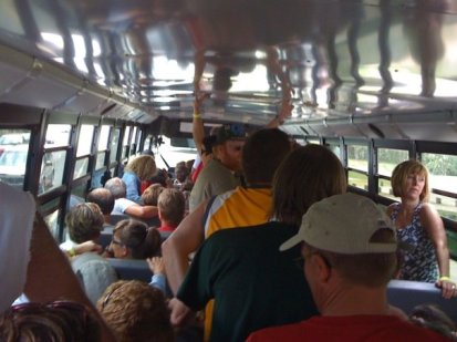 One of the buses that was supposed to shuttle the eagle & turkey trail runners to the start broke down, so we all crowded into the other bus.