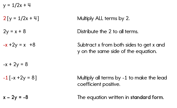 Writing Equations In Standard Form