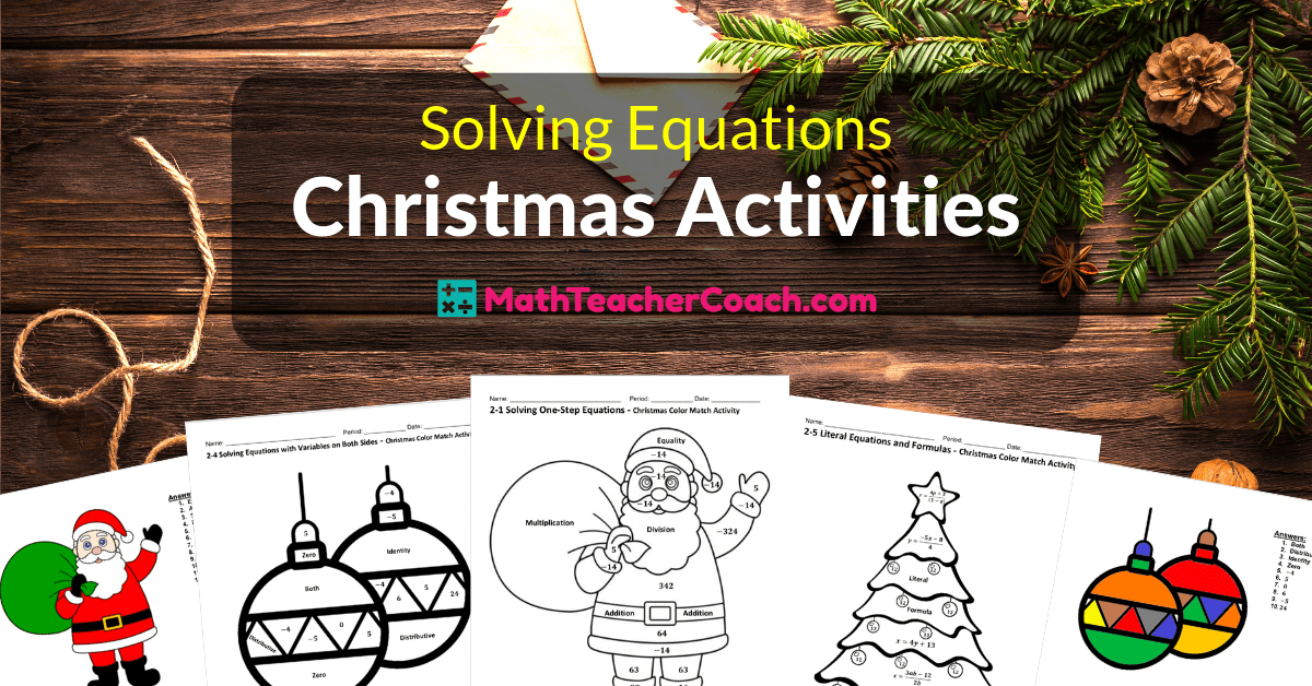 Solving Equations Christmas Coloring Worksheets