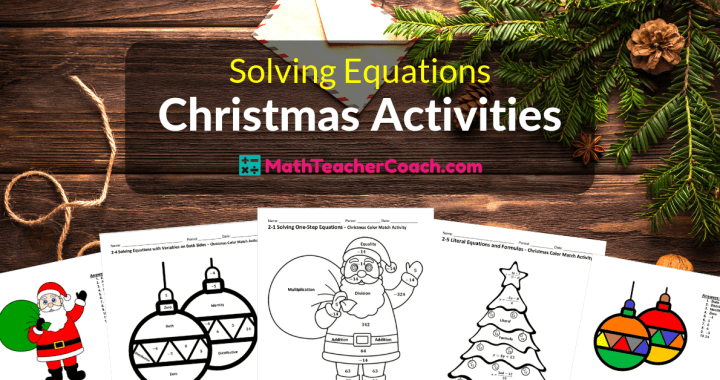 Solving Equations Christmas Coloring Worksheets Algebra 1 Coach