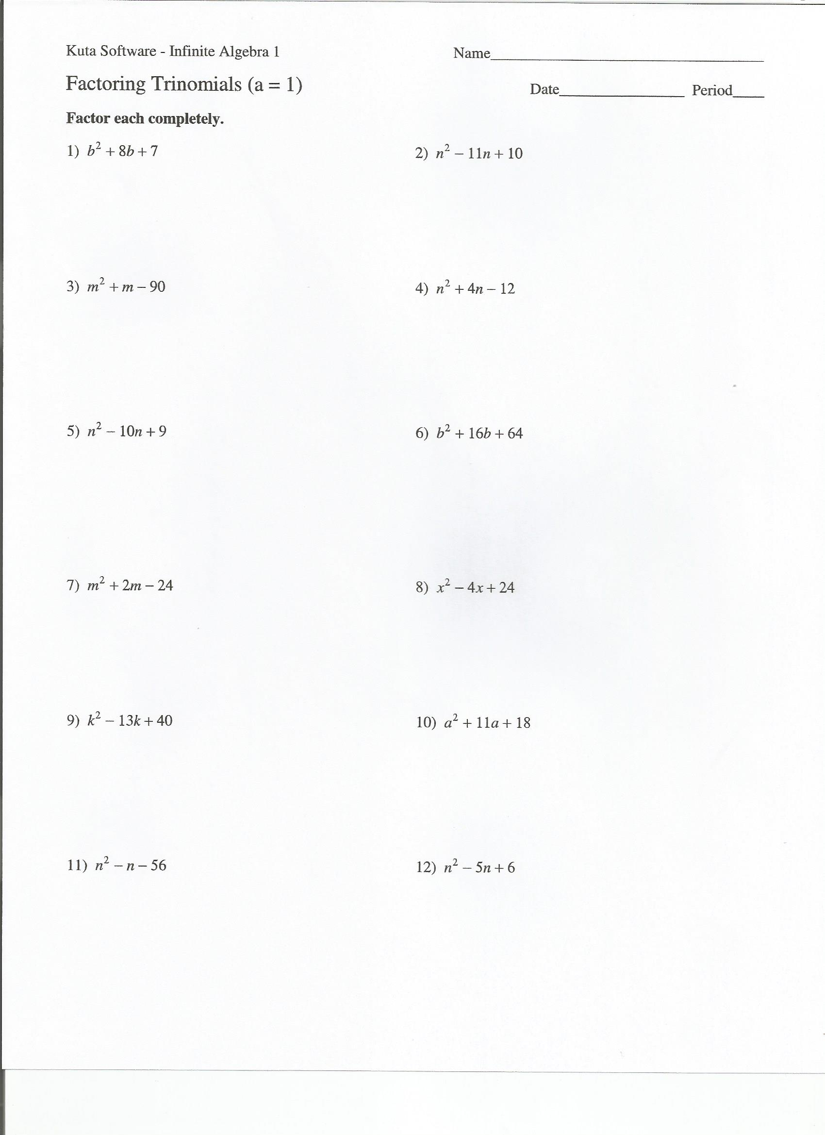 Multiplication Of Monomials Worksheet Dividing