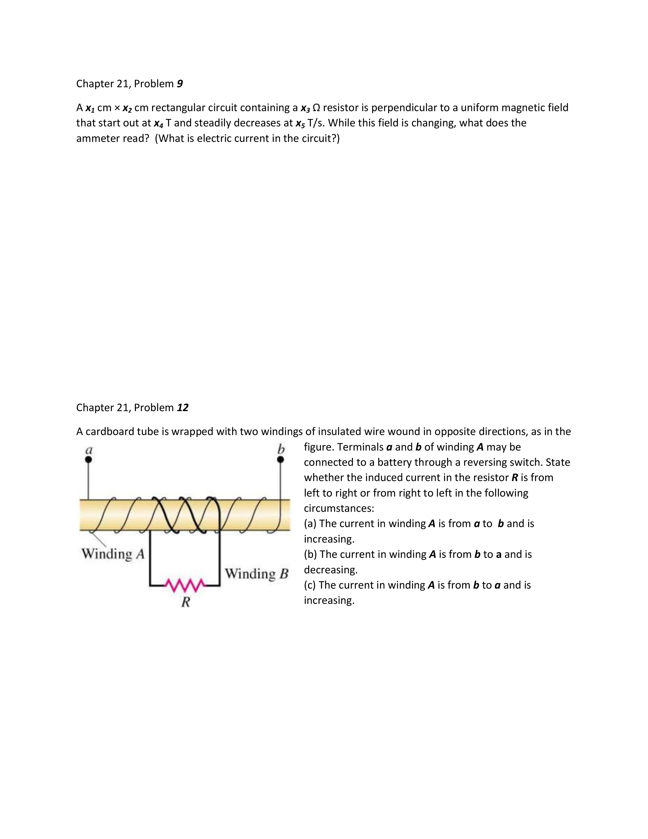 Chapter 21 Electromagnetic Induction Homework Worksheet