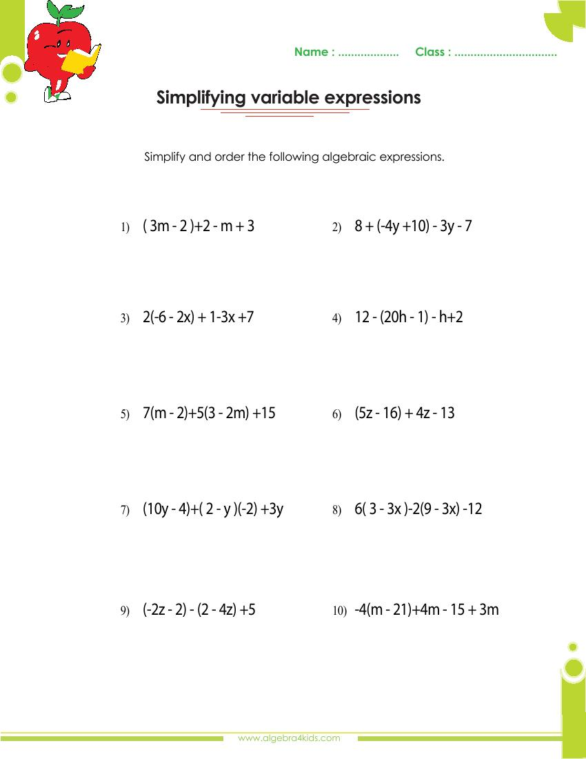 hight resolution of Adding and subtracting polynomials worksheets with answers