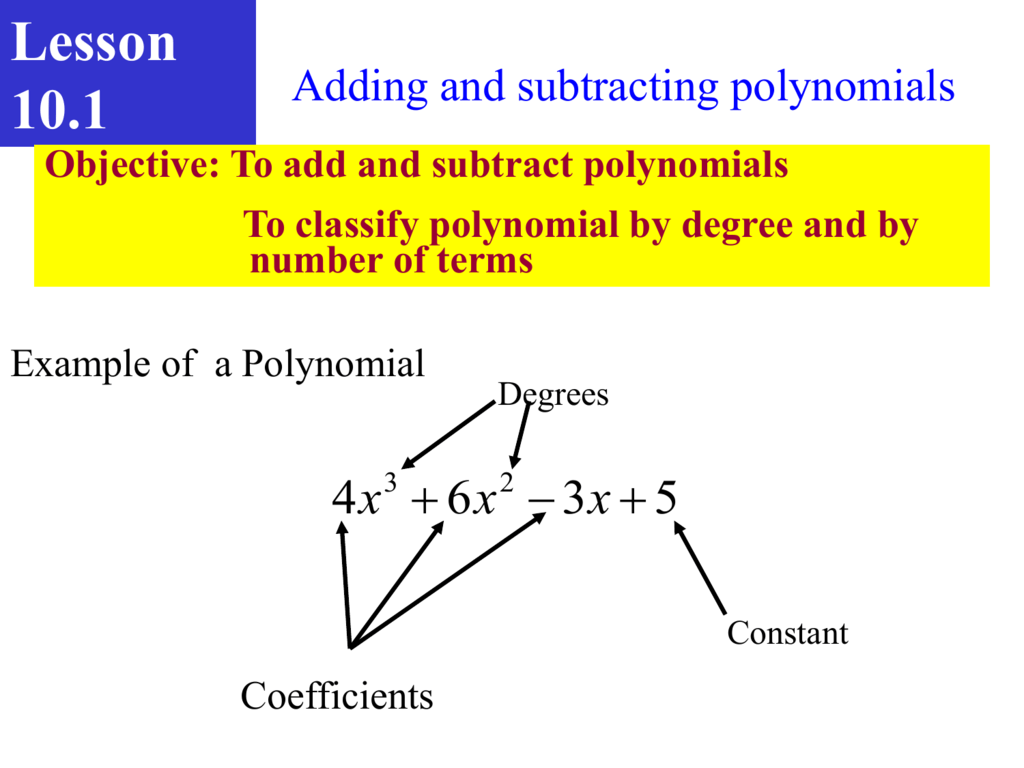 Algebra Chapter 10 1 Classifying Polynomials Worksheet