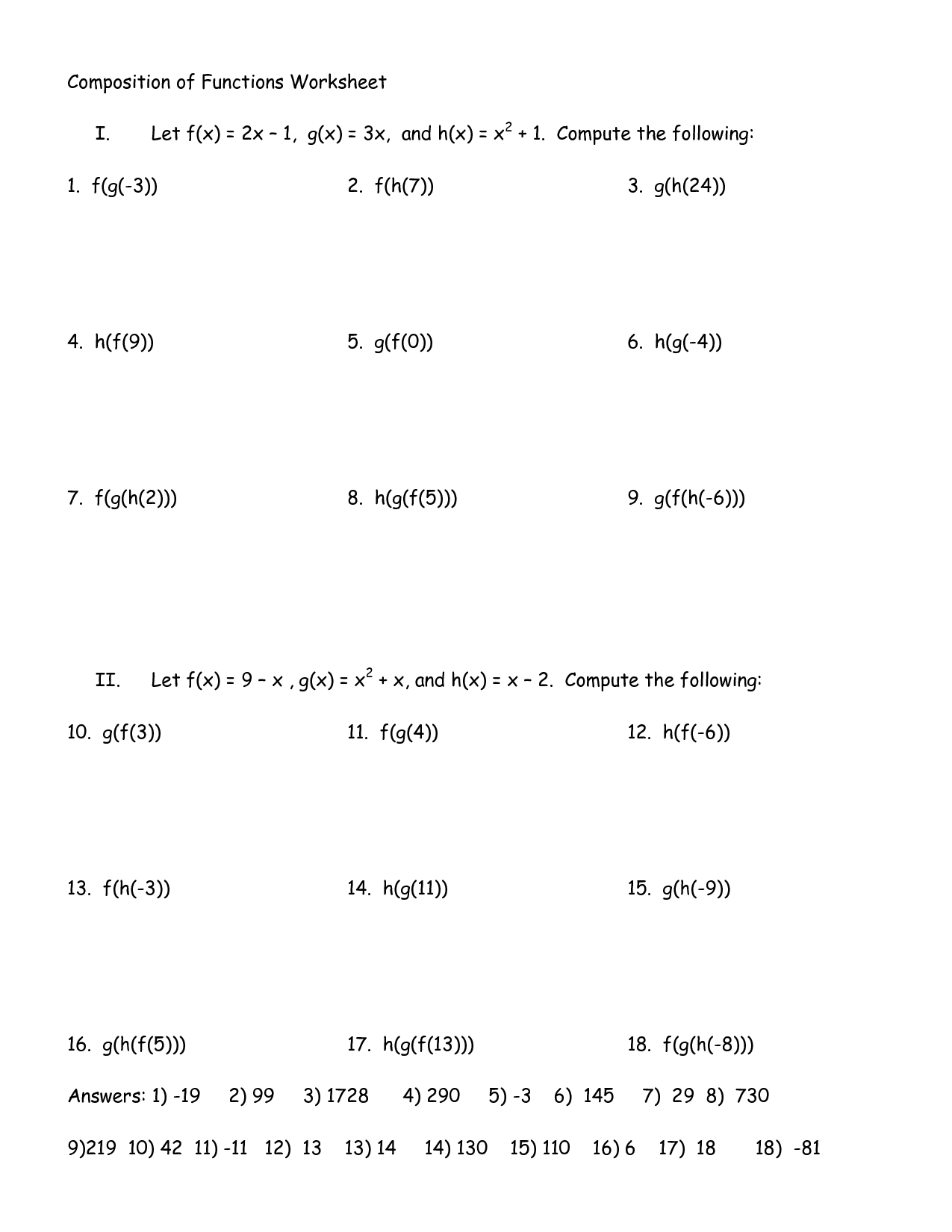Algebra 3 Function Worksheet 2 Operations And Composition