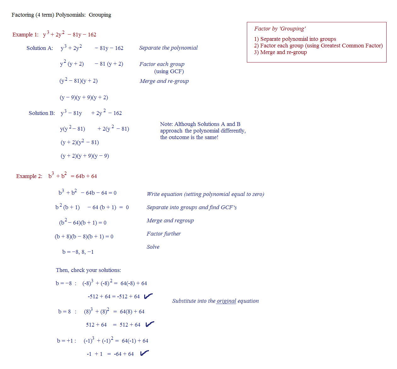 Factoring By Grouping Worksheet Algebra 2 Answers With