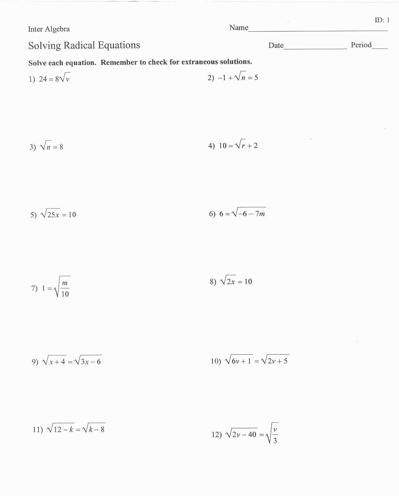 Simplifying Radicals Worksheet Algebra 2 Answer Key