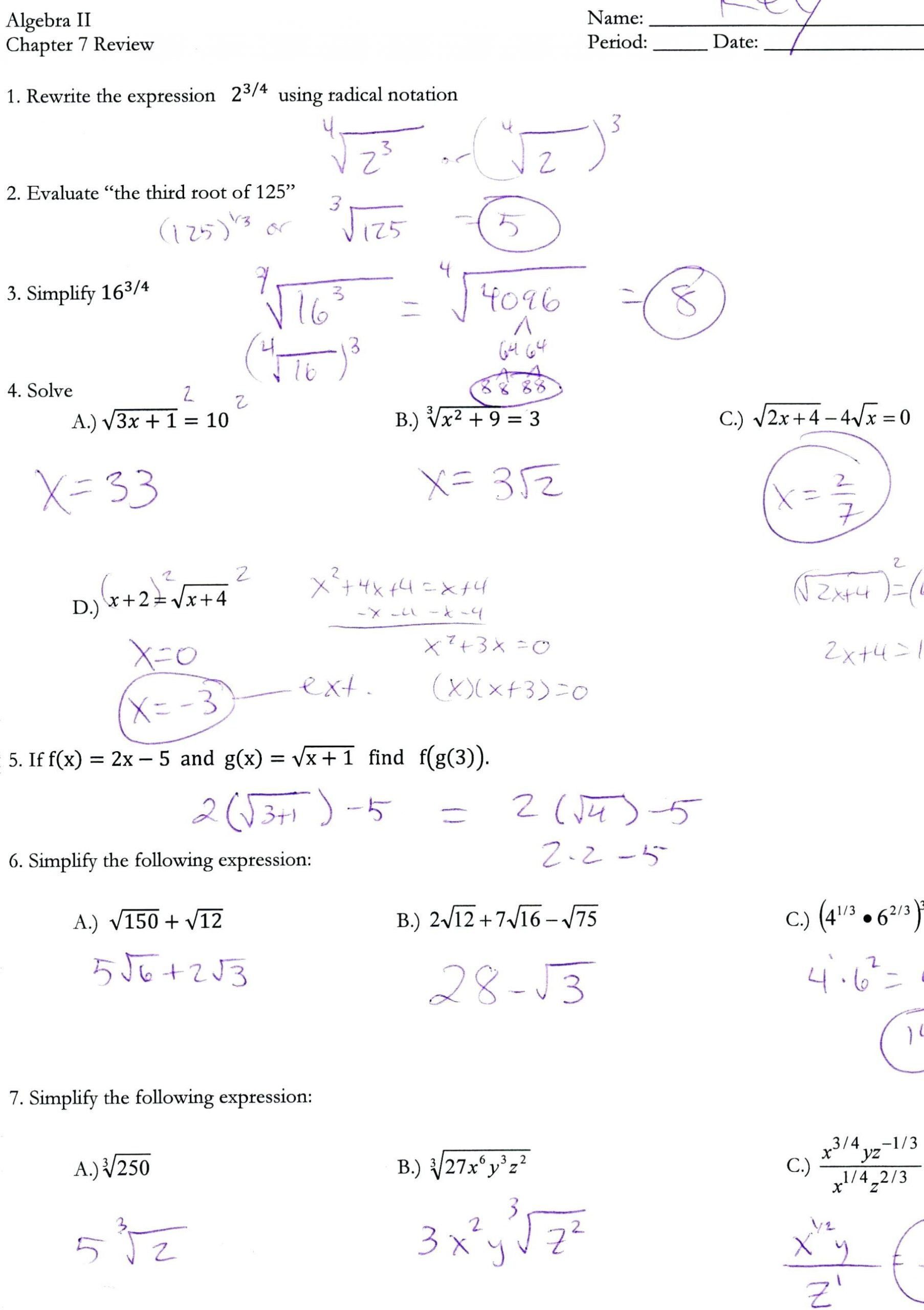 Algebra Review Worksheet Quadratic Functions Answers