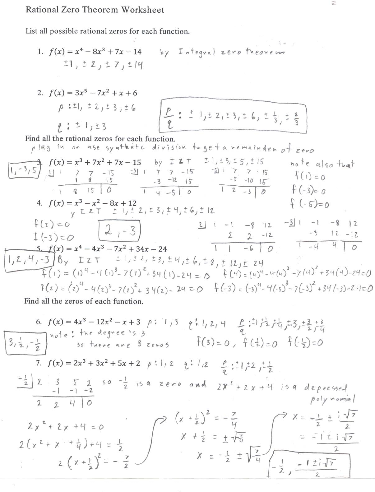 Synthetic Division Worksheet Algebra 2
