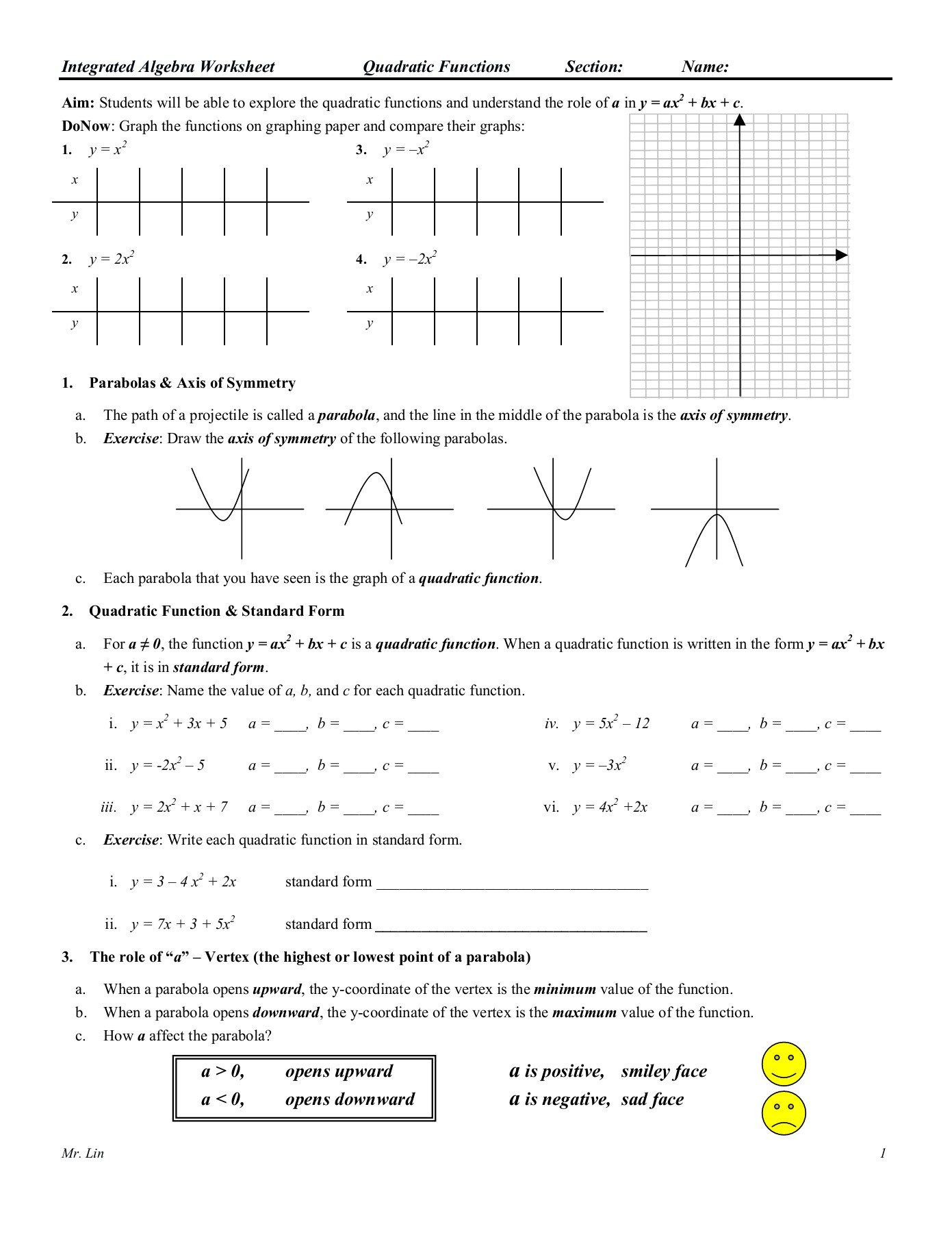 Algebra 1 Quadratic Functions Worksheet Answers