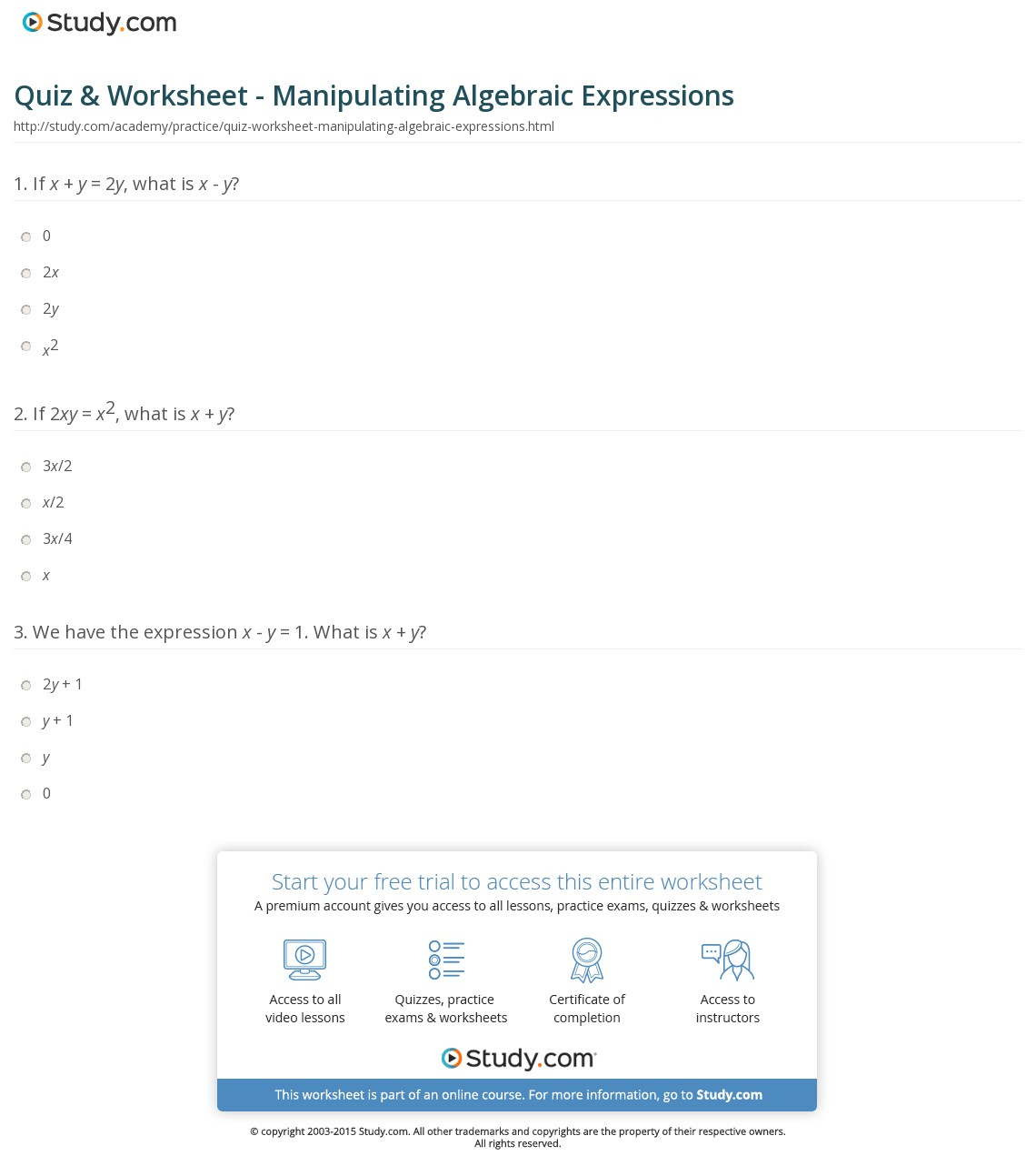 hight resolution of Basic Evaluating Expressions Worksheet   Printable Worksheets and  Activities for Teachers