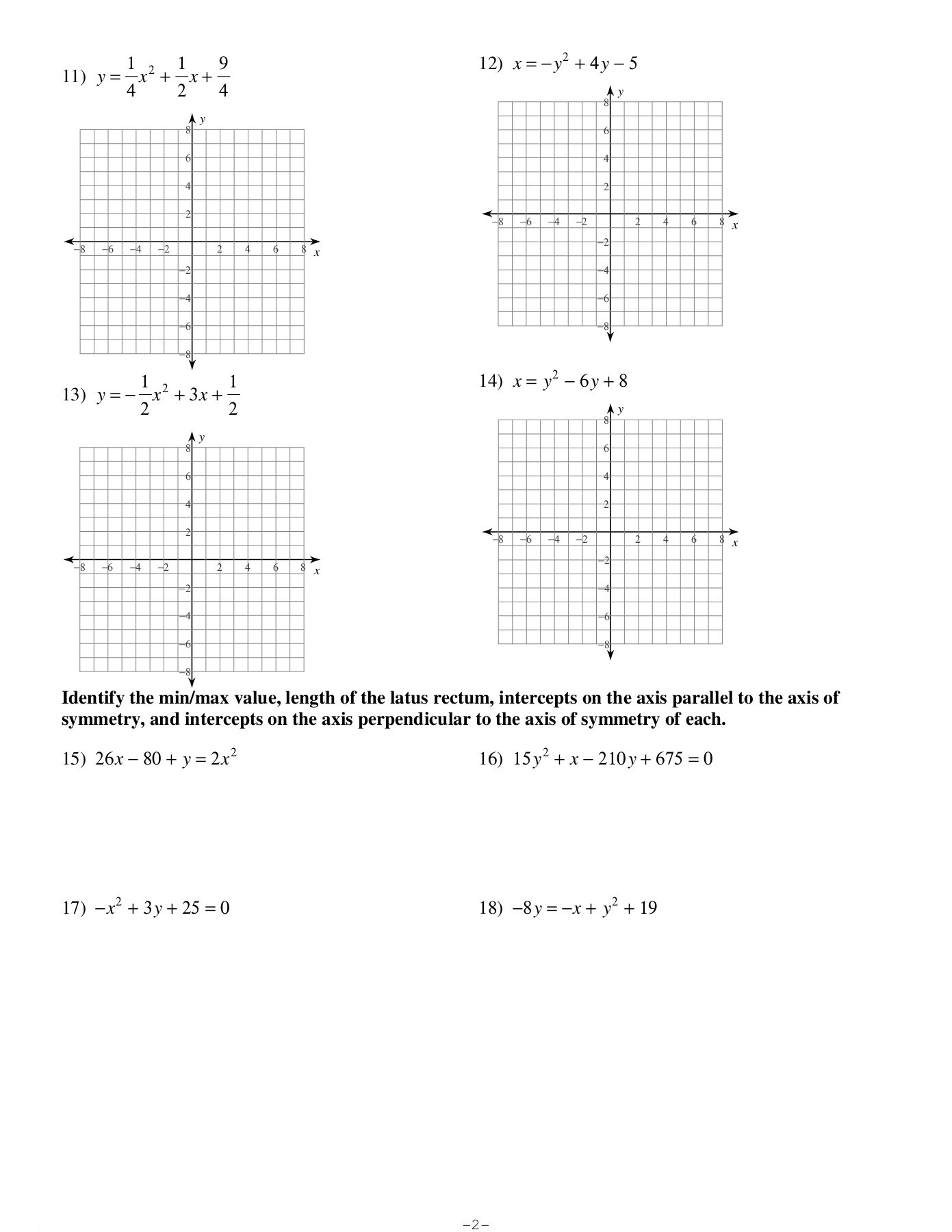 Graphing And Properties Of Parabolas Kuta Software Llc