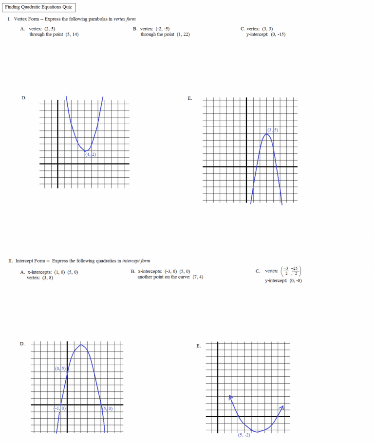 Introduction To Quadratic Functions Worksheet