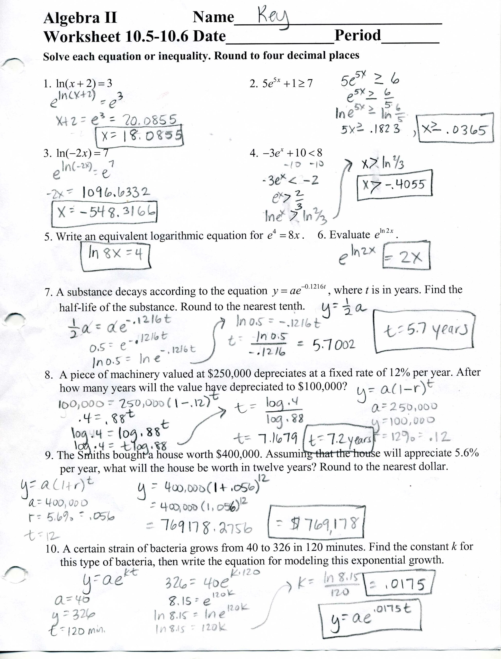 Algebra Worksheets And Answer Key