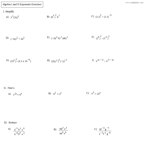 small resolution of Exponent Rules Algebra 2 Worksheet   Printable Worksheets and Activities  for Teachers