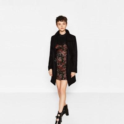 manteau enveloppant zara noir