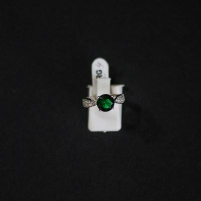 Bague en ARGENT garanti avec zircon vert émeraude
