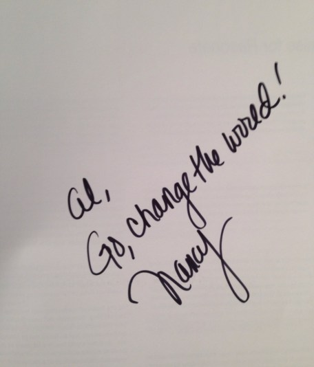 """The message from Nancy Duarte in my signed copy of """"Resonate""""."""