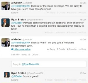 Twitter conversation with weather guy  Ryan Breton @RyanBretonWX