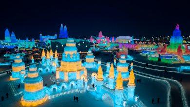 صورة جوية لقصر ثلجي منحوت صمن مهرجان الثلج والجليد في الصين