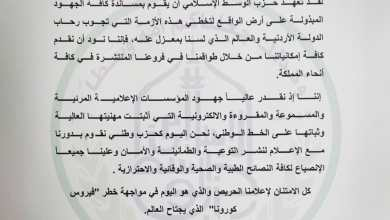 Photo of الوسط الإسلامي يثمن دور الإعلام الأردني في مواجهة كورونا