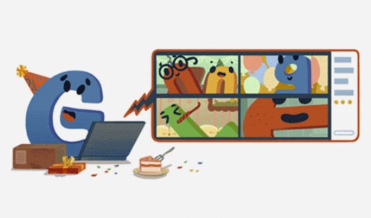 """الحرف """"جي"""" (G) يحتفل مع بقية حروف اسم غوغل عن طريق تقنية الفيديو بسبب جائحة كورونا (مواقع التواصل)"""