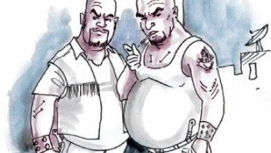 """رسم تعبيري لشخصين من فارضي الاتاوات و""""البلطجية""""-(أرشيفية)"""