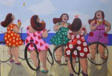 """""""ما يحدث في الصيف يبقى في الصيف"""" (مواد مختلفة على كانفاس 120×160 سنتمتراً ) لوحات اسراء زيدان"""
