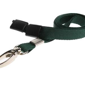 Plain Coloured Lanyards (100 Pack) - Metal Clips - Dark Green