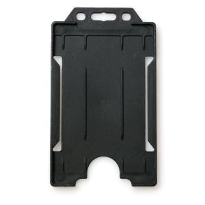 Single-Sided Open Faced ID Card Holder - Portrait (Black)