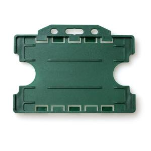 Double-Sided Open Faced ID Card Holder - Landscape (Dark Green)
