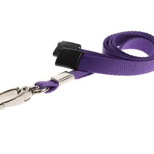 Plain Coloured Lanyards (100 Pack) - Metal Clips - Purple