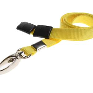 Plain Coloured Lanyards (100 Pack) - Metal Clips - Yellow