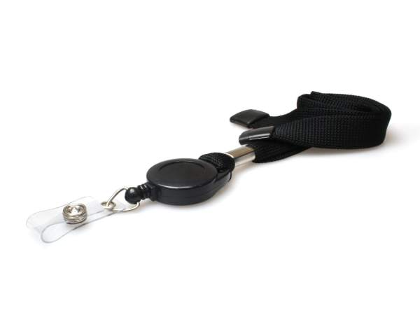 Plain 16mm Tubular Flexiweave Breakaway Lanyards with Badge Reel (Pack of 50) (Black)