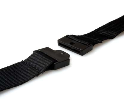 20mm Plain Coloured Lanyards (100 Pack) - Trigger Clips (Black)