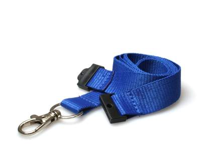 20mm Plain Coloured Lanyards (100 Pack) - Trigger Clips (Blue)