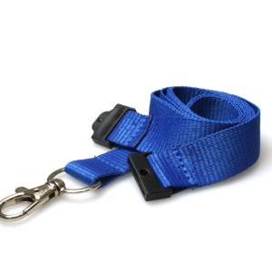 20mm Plain Coloured Lanyards (100 Pack) - Trigger Clips (Blue)