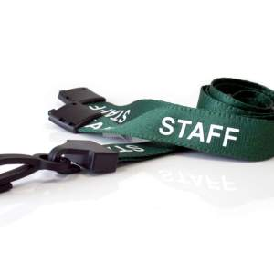 Green Staff Lanyards with Plastic J Clip (Pack of 100)