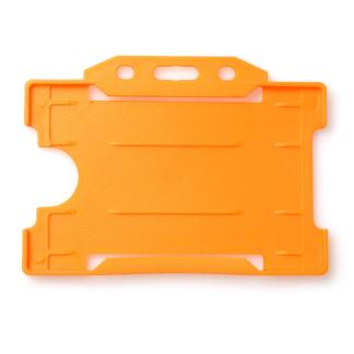 Single-Sided Open Faced ID Card Holder - Landscape (Orange)