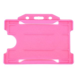 Single-Sided Open Faced ID Card Holder - Landscape (Pink)