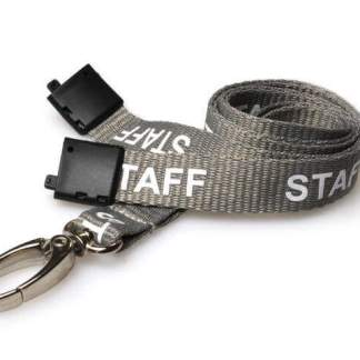 Grey Staff Lanyards with Metal Lobster Clip (Pack of 100)