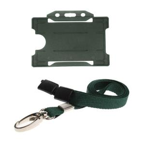 Dark Green ID Card Holder and Lanyard with Metal Clip
