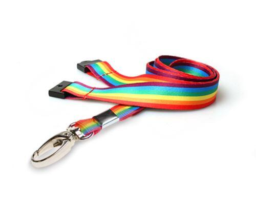 Rainbow LGBT Lanyard with Safety Breakaway and Metal Lobster Clip