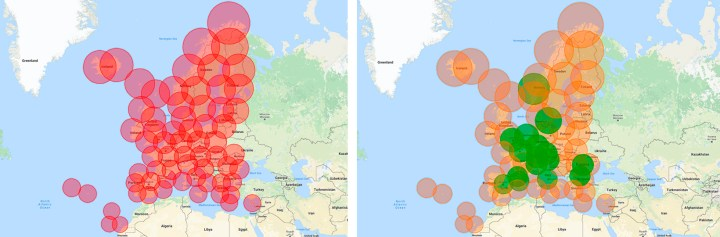 European map of coverage of the new proposed surveillance infrastructure deployment. Secondary dependent ADS-B layer (red, left) and independent layer (right, orange for SSR Mode S and green for WAM systems)