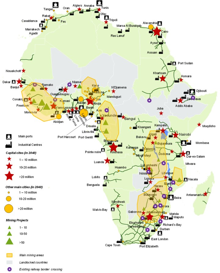 Main areas suitable for railway developments in Africa. (Source: ALG based on PIDA)