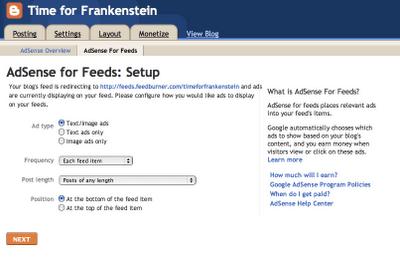 AdSense for feeds disponible directamente en Blogger