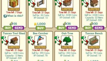 New Mystery Box, Tuscan Fence, Fattoria, Tuscan Barn, Tuscan Tool Shed, Bee Catcher, Oak Tree y Tuscan Bench en Farmville