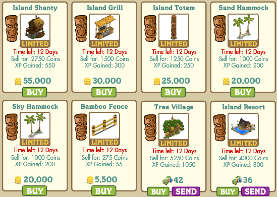 Island Shanty, Island Grill, Island Totem, Sand Hammock, Sky Hammock, Bamboo Fence, Tree Village, Island Resort Farmville
