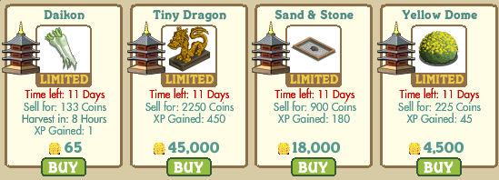 Daikon (crop), Tiny Dragon, Sand & Stone y Yellow Dome Farmville